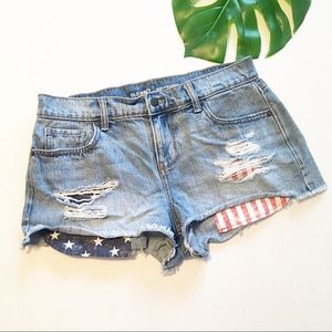Old Navy Flag Shorts Distressed Blue Jean Ripped